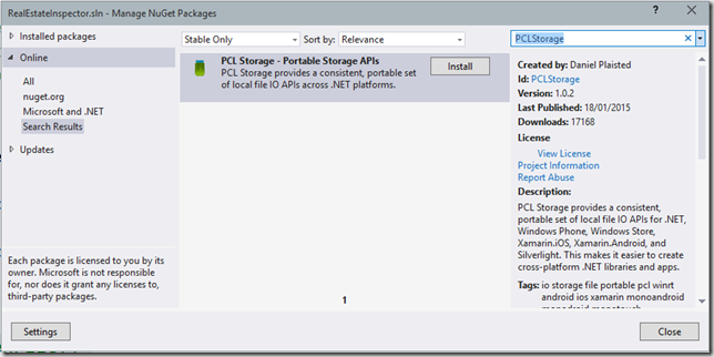 Cross Platform File Storage with PCLStorage NuGet Package