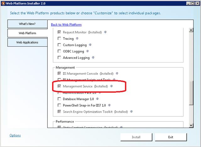 Don't Install Web Deployment Tool using the Web Platform Installer